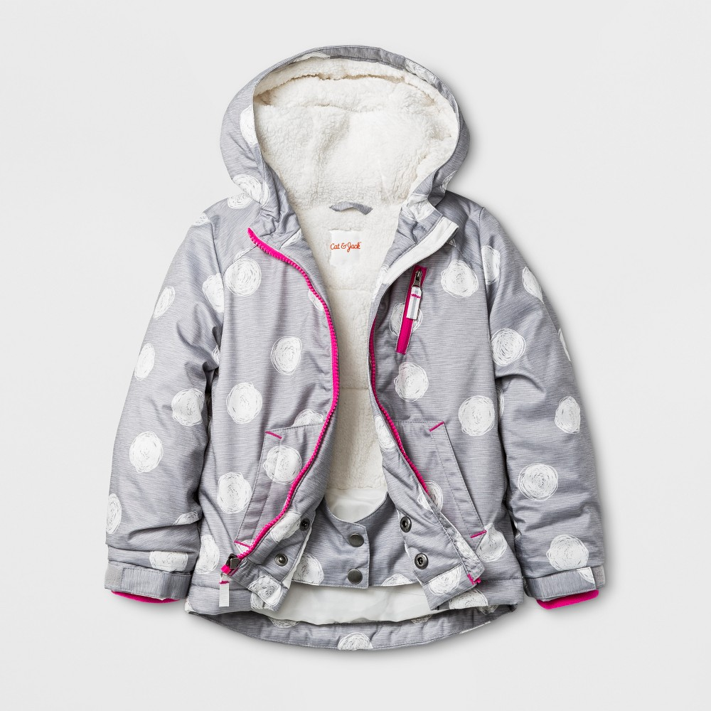 Toddler Girls Windbreaker with Sherpa Lining - Cat & Jack Gray 4T