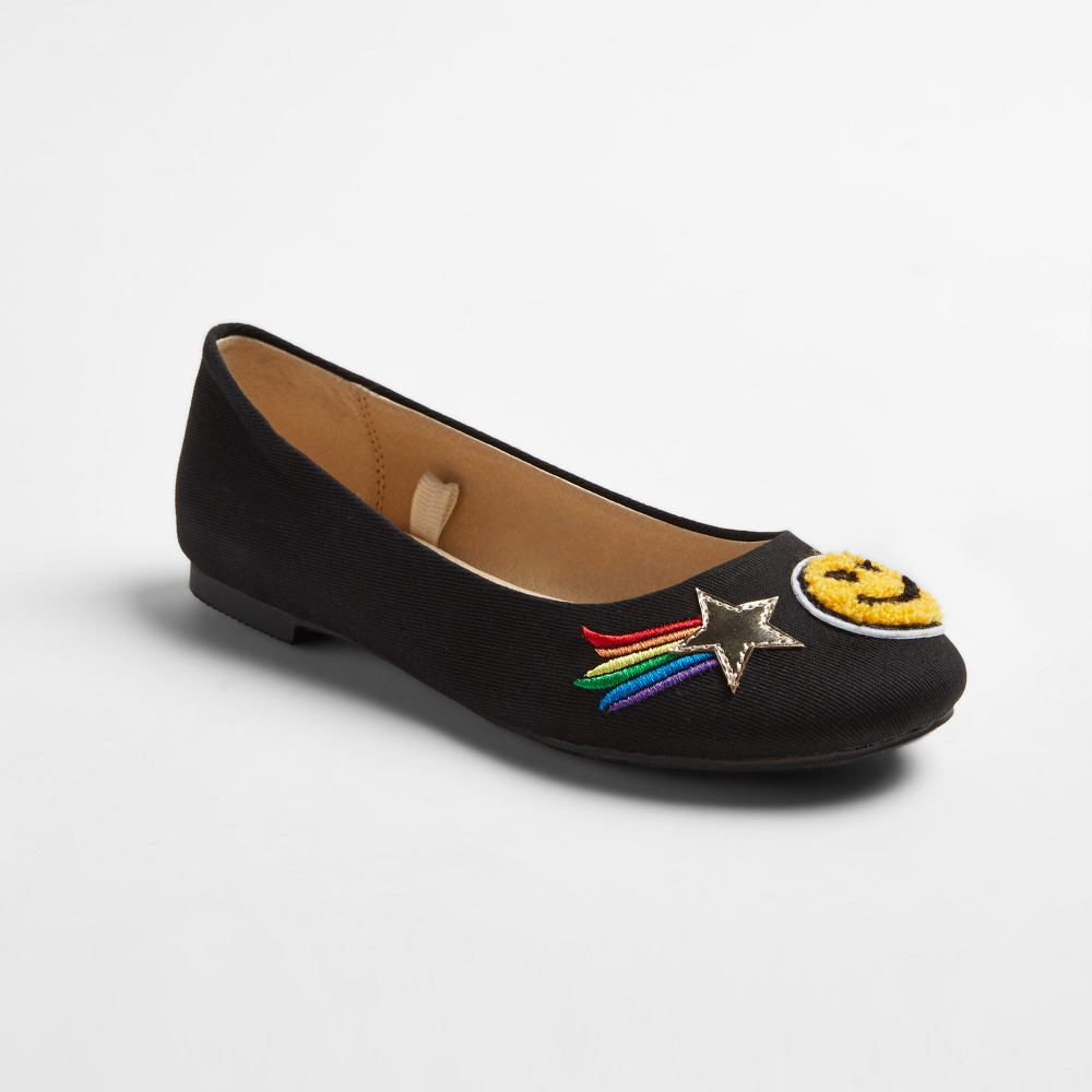 Girls Stevies #adorbs Patch Ballet Flats - Black 4