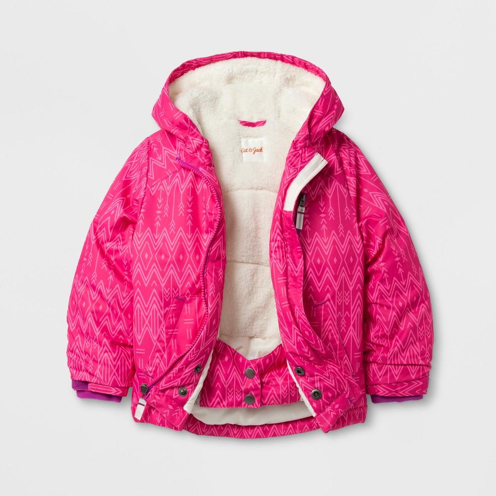 Toddler Girls Windbreaker with Sherpa Lining Pink Print - Cat & Jack Pink 6