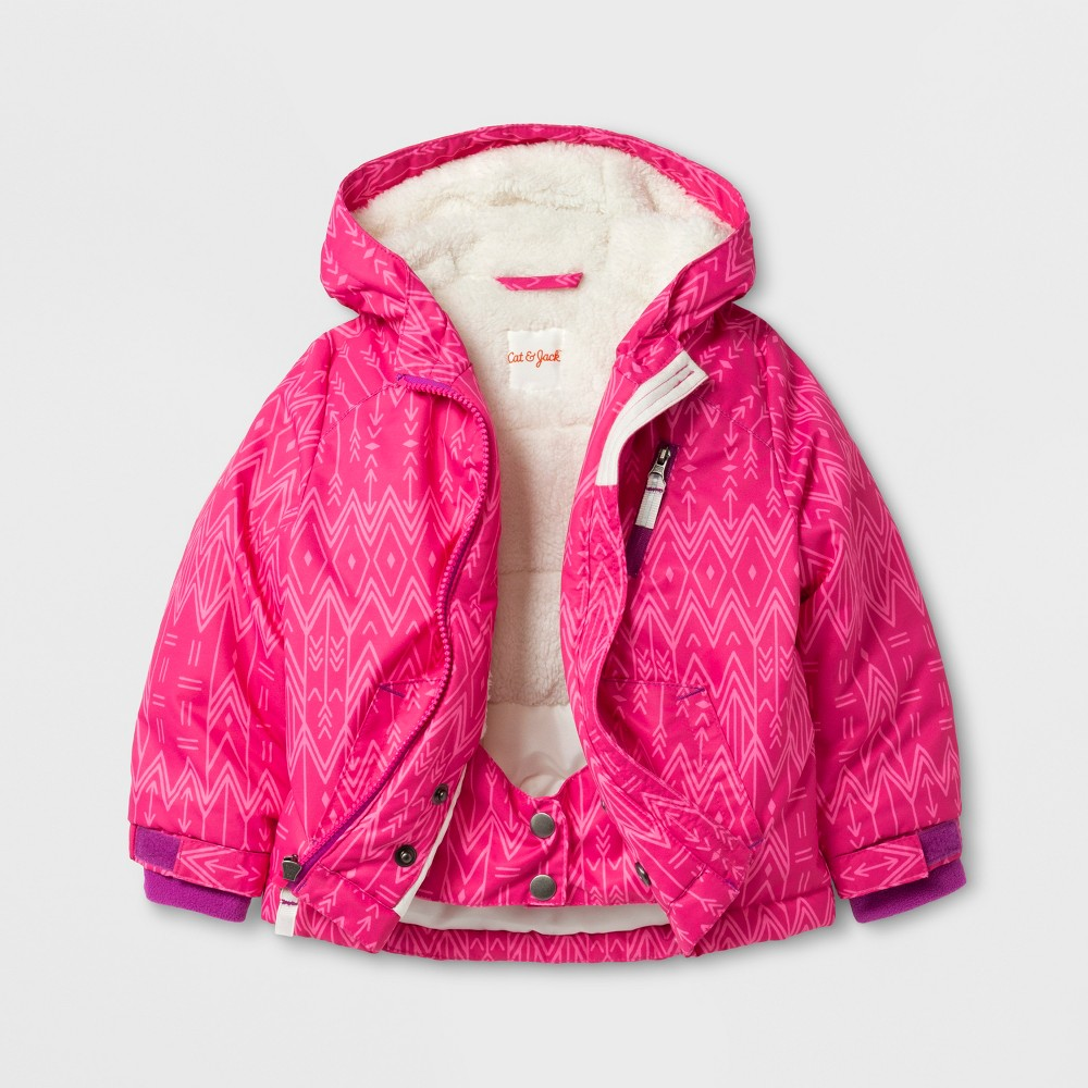 Toddler Girls Windbreaker with Sherpa Lining Pink Print - Cat & Jack Pink 18M