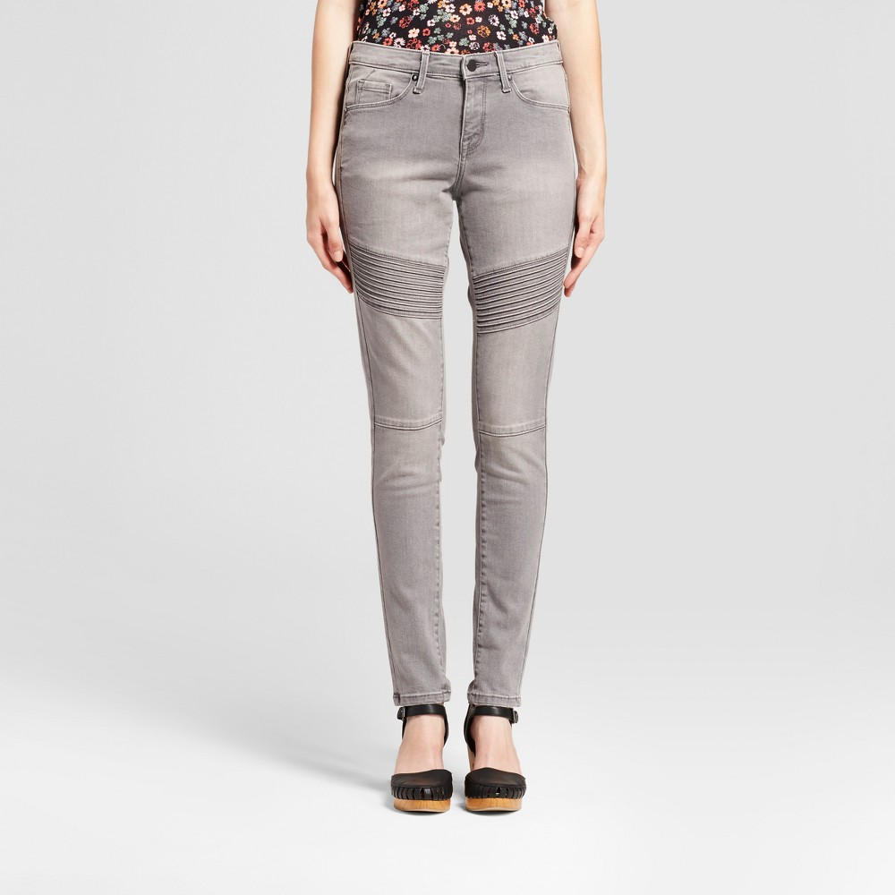 Womens Jeans Mid Rise Skinny Moto - Mossimo Light Gray 10 Short