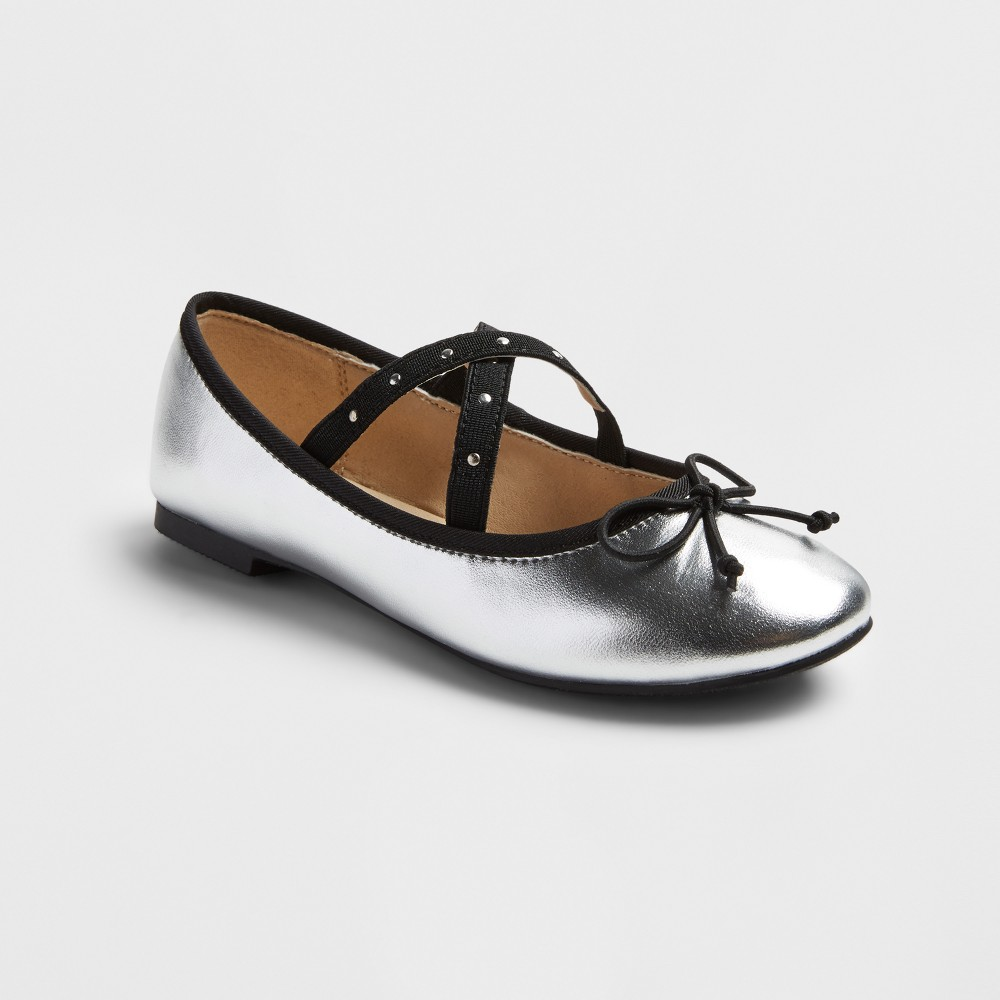 Girls Stevies #plieee Ballet Flats with Studs - Silver 2