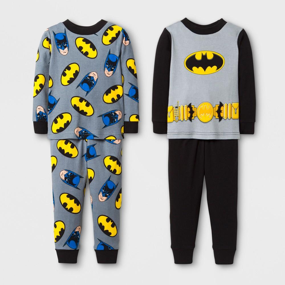 Baby Boys Batman 4-Piece Cotton Pajama Set- Black 24M, Size: 24 M