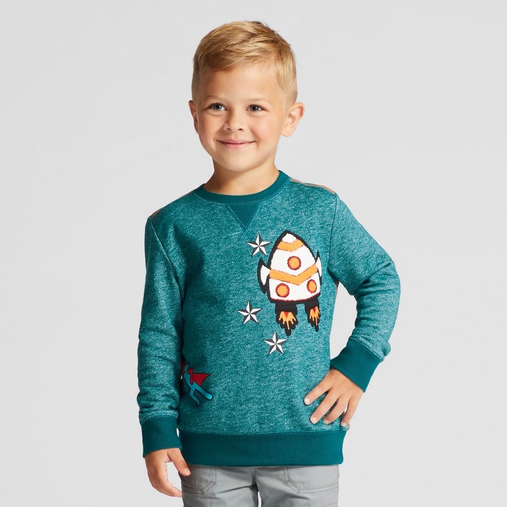 Toddler Boys Crew Neck Pullover Sweatshirt - Cat & Jack Green 3T