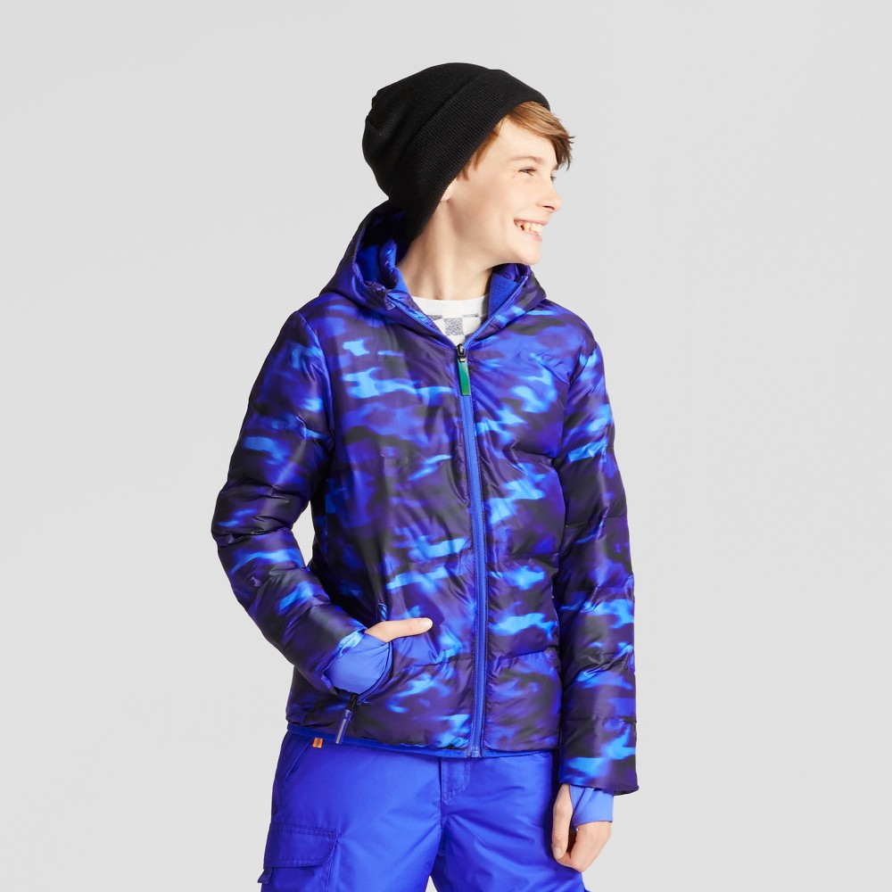 Boys Puffer Jacket - C9 Champion Camo Blur/Flight Blue S, Flight Blue Heather