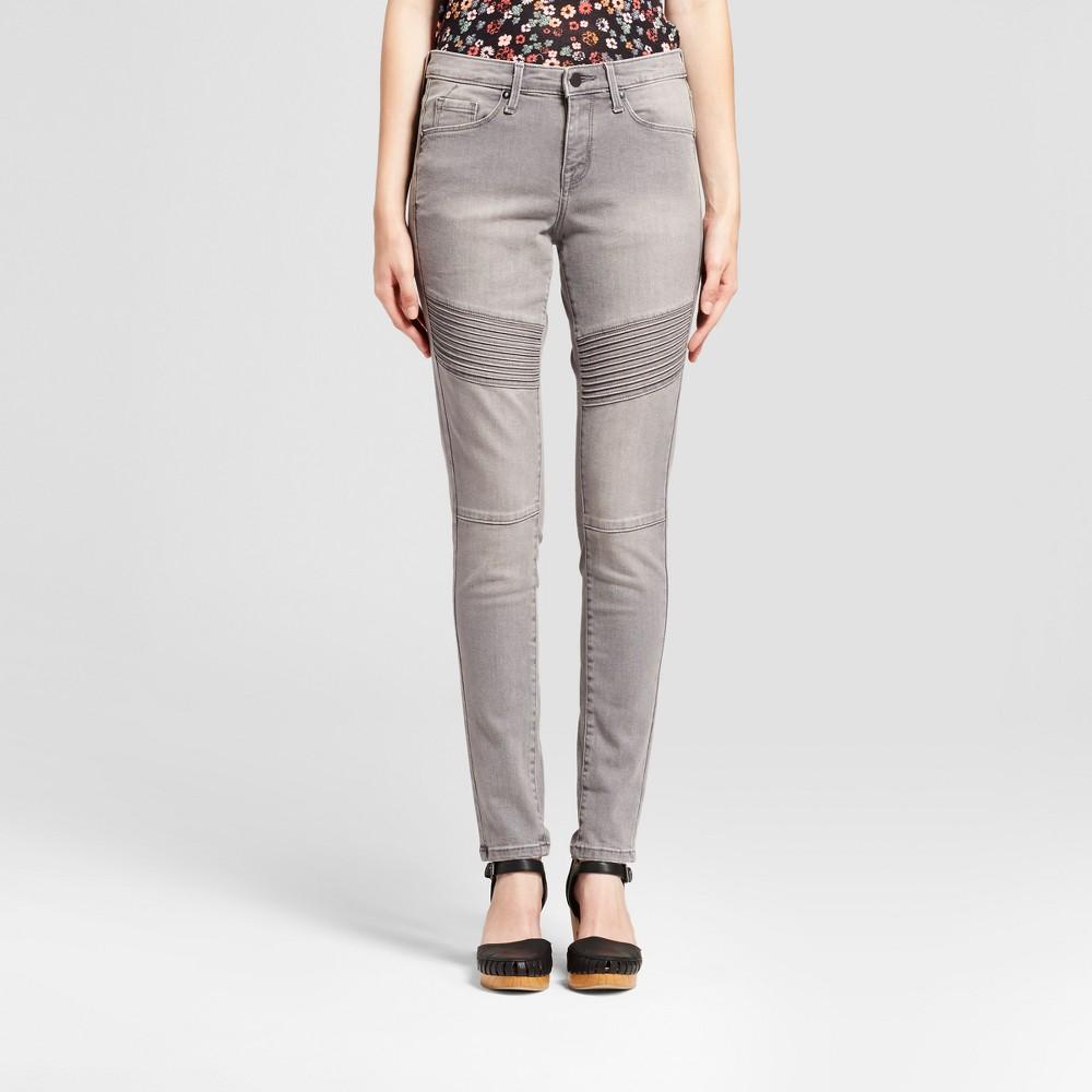Womens Jeans Mid Rise Skinny Moto - Mossimo Light Gray 0 Long