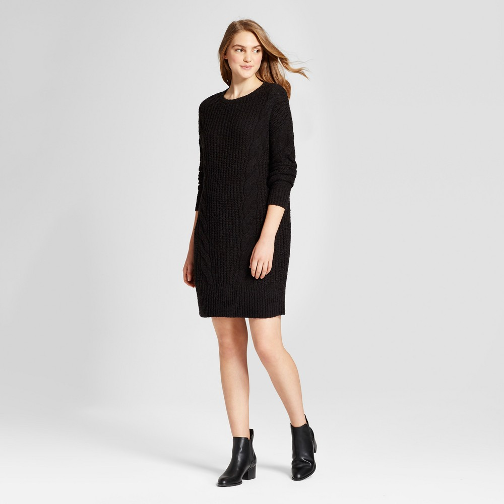 Womens Cable Knit Sweater Dress - Mossimo Supply Co. Black L