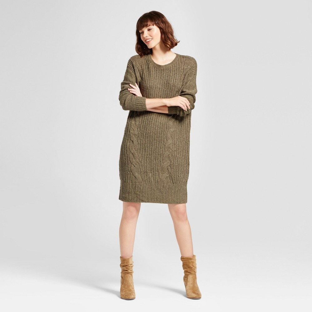 Womens Cable Knit Sweater Dress - Mossimo Supply Co. Olive (Green) XL