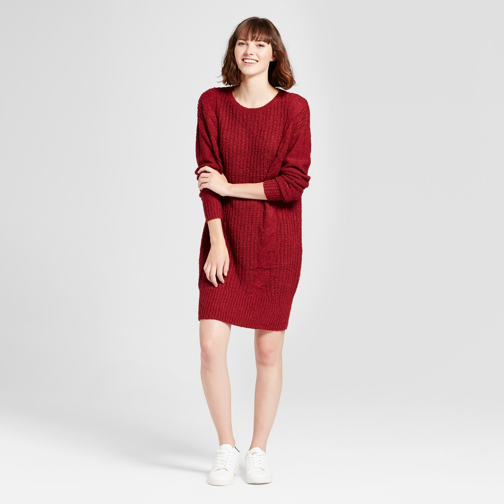 Womens Cable Knit Sweater Dress - Mossimo Supply Co. Burgundy (Red) XL