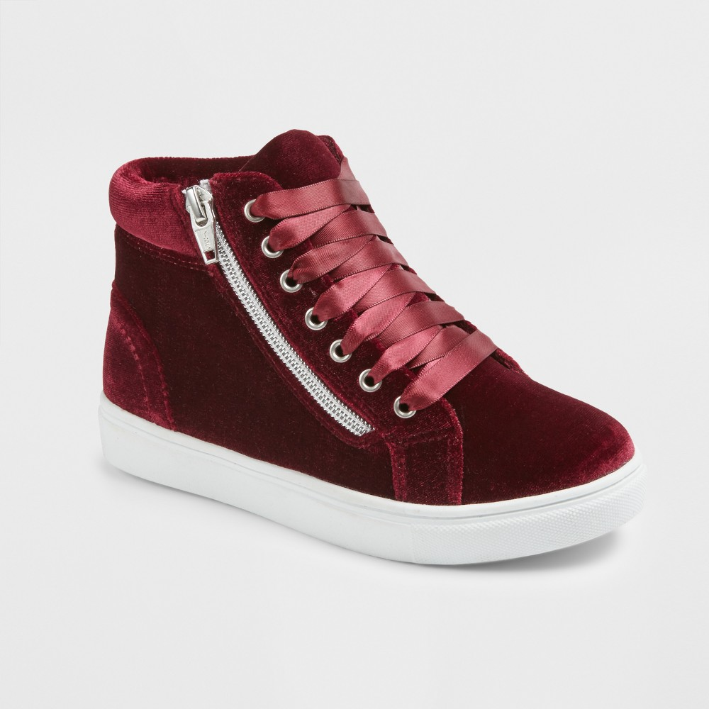Girls Stevies #zippit Star High Top Sneakers - Burgundy (Red) 5
