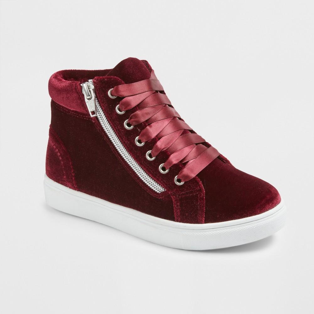 Girls Stevies #zippit Star High Top Sneakers - Burgundy (Red) 13