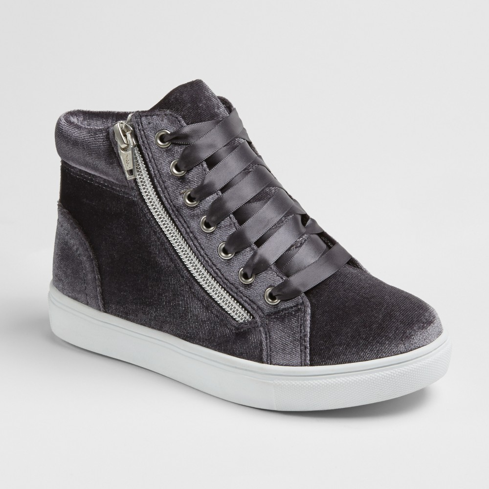 Girls Stevies #zippit Velvet High Top Sneakers - Gray 2