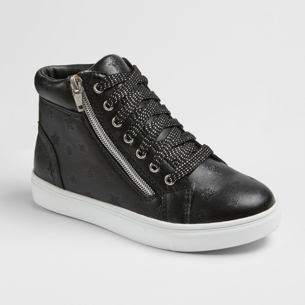 Girls Stevies #zippit Star High Top Sneakers - Black 2