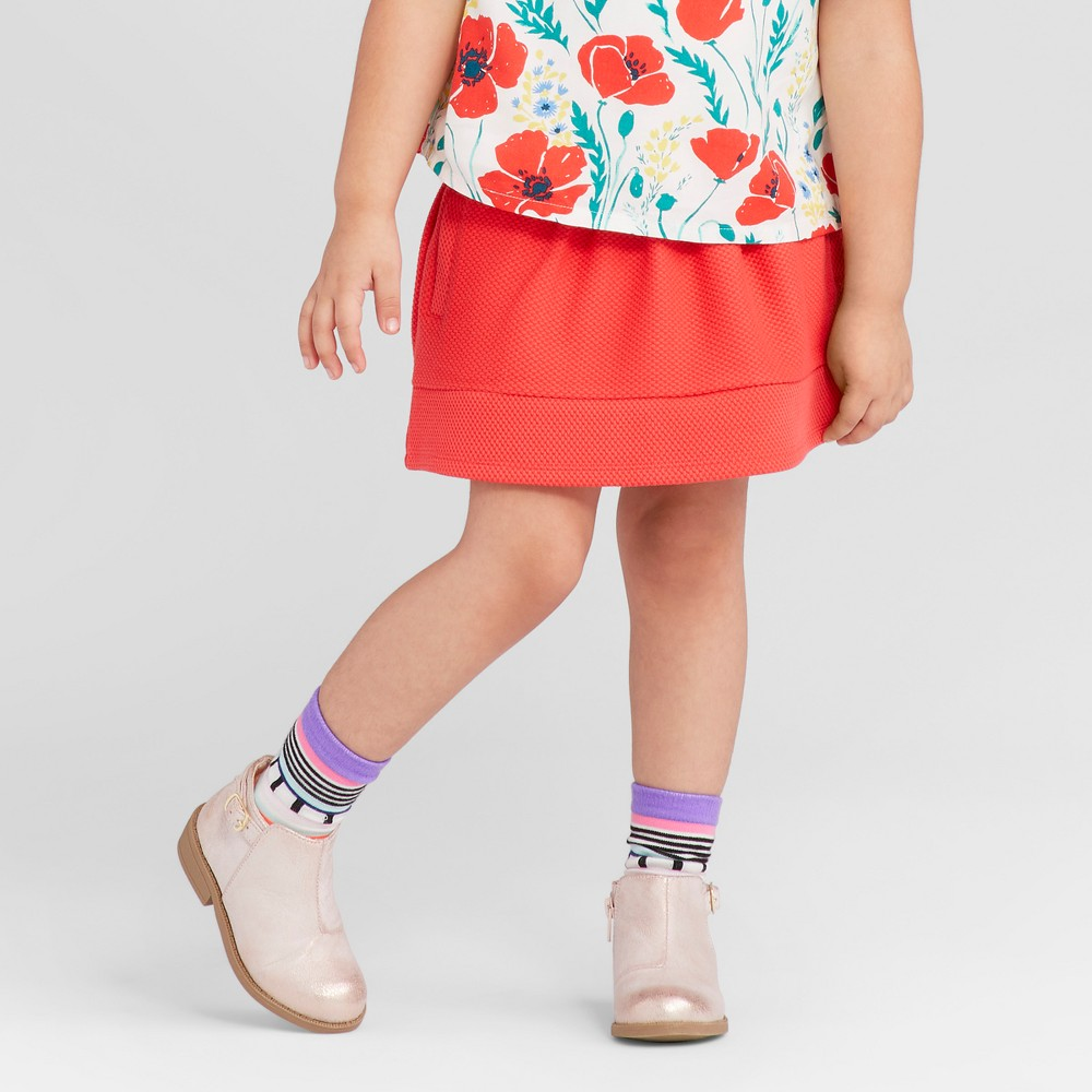 Toddler Girls Solid Texture Stretch Skirt - Genuine Kids from OshKosh Rocker Red 12M, Size: 12 M