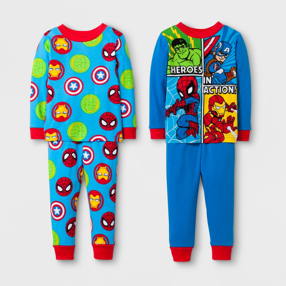 Toddler Boys Avengers 4-Piece Cotton Pajama Set - Blue 2T