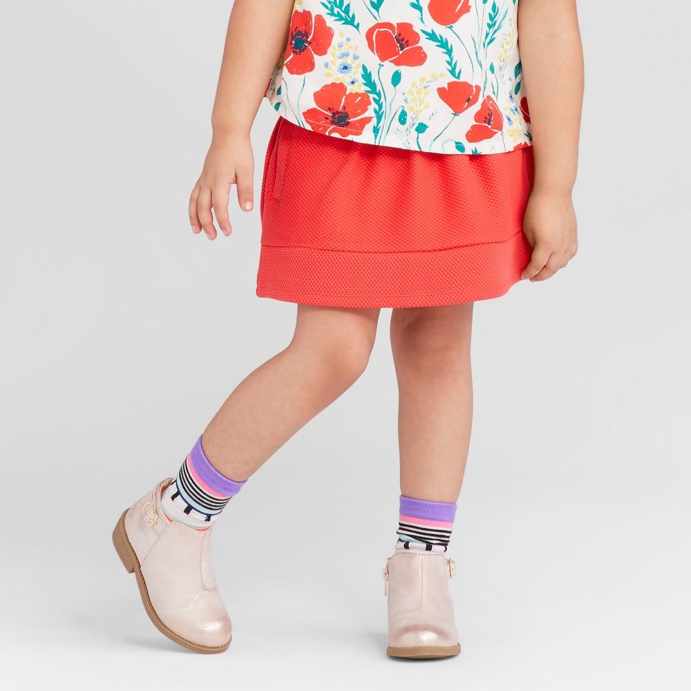 Toddler Girls Solid Texture Stretch Skirt - Genuine Kids from OshKosh Rocker Red 3T