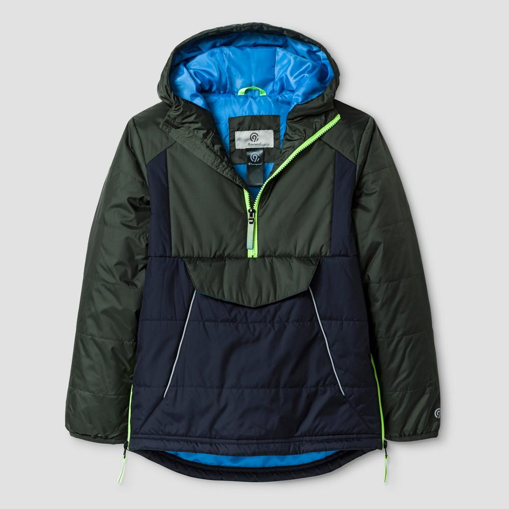 Boys Mid Weight Anorak Puffer Jacket - C9 Champion Blue L, Green