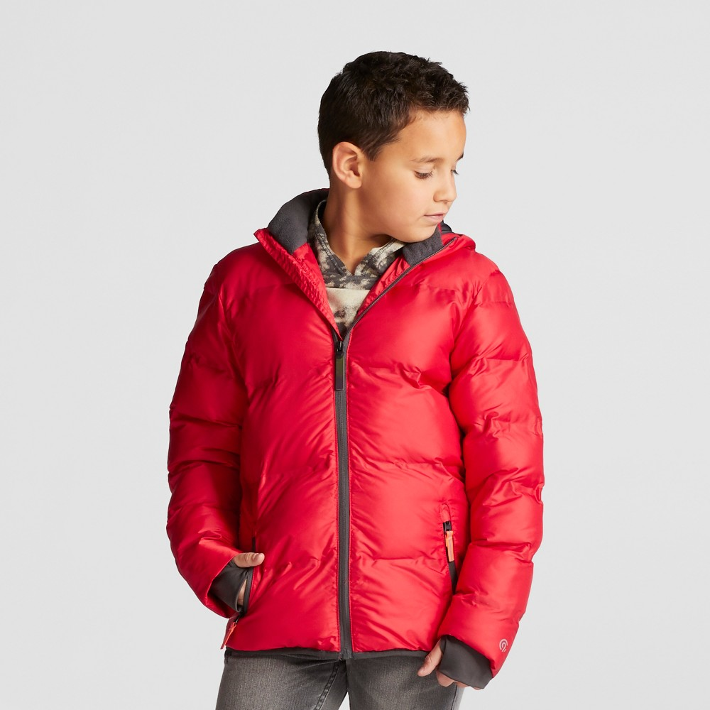 Boys Puffer Jacket - C9 Champion Scarlet (Red)/Railroad Gray XS