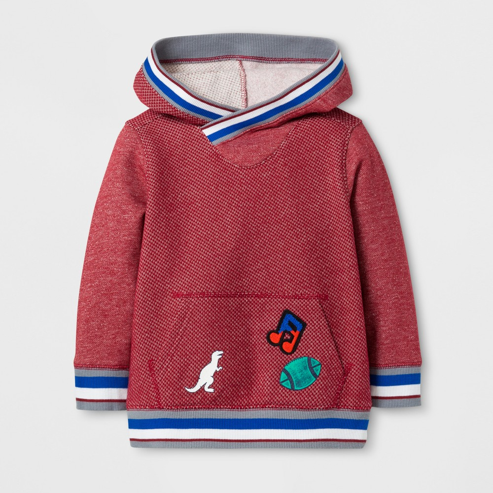 Toddler Boys Pullover Hoodie Sweatshirt - Cat & Jack Red 12M, Size: 12 M