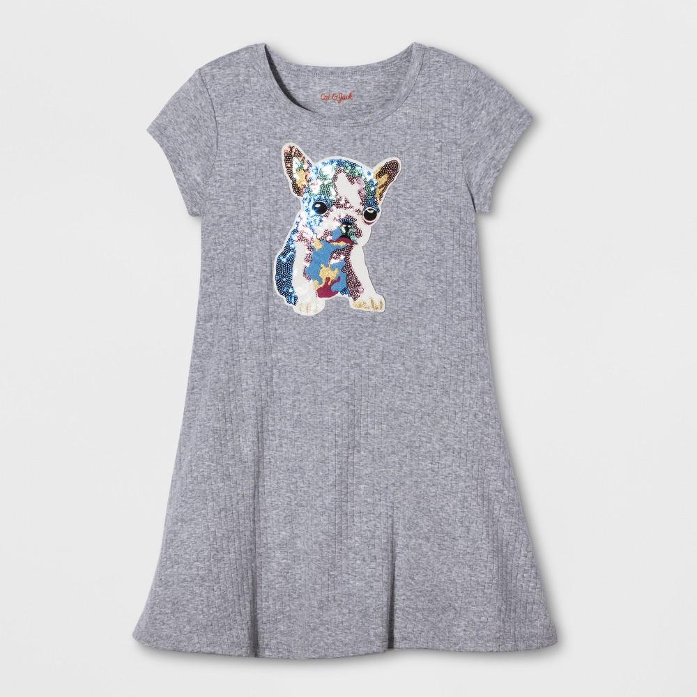 Girls Dog Patch Rib Dress - Cat & Jack Gray L