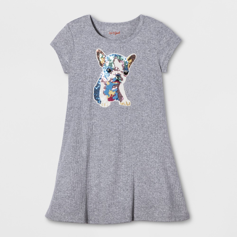 Girls Dog Patch Rib Dress - Cat & Jack Gray XL