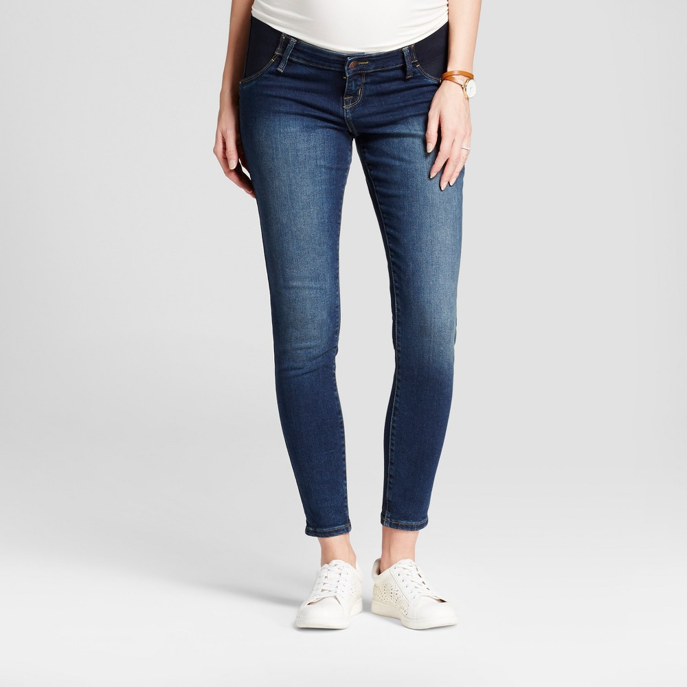 Maternity Inset Panel Skinny Jeans - Isabel Maternity by Ingrid & Isabel Dark Wash 10, Womens, Blue