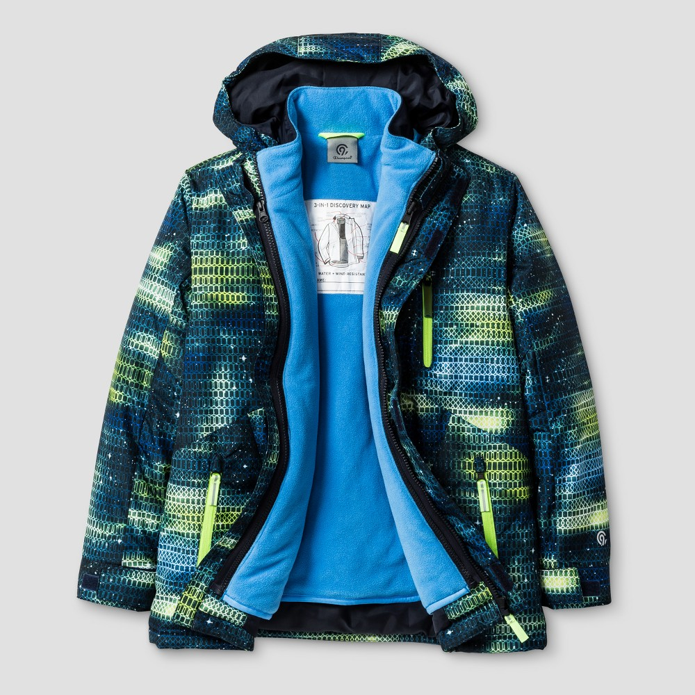 Boys 3-in-1 System Reversible Jacket - C9 Champion Green/Blue S