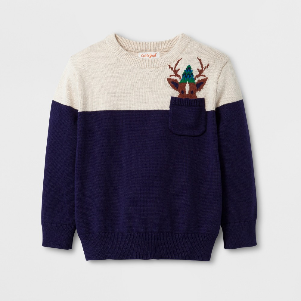 Toddler Boys Crew Neck Reindeer Pocket Sweater - Cat & Jack Navy 18M, Size: 18 M, Blue