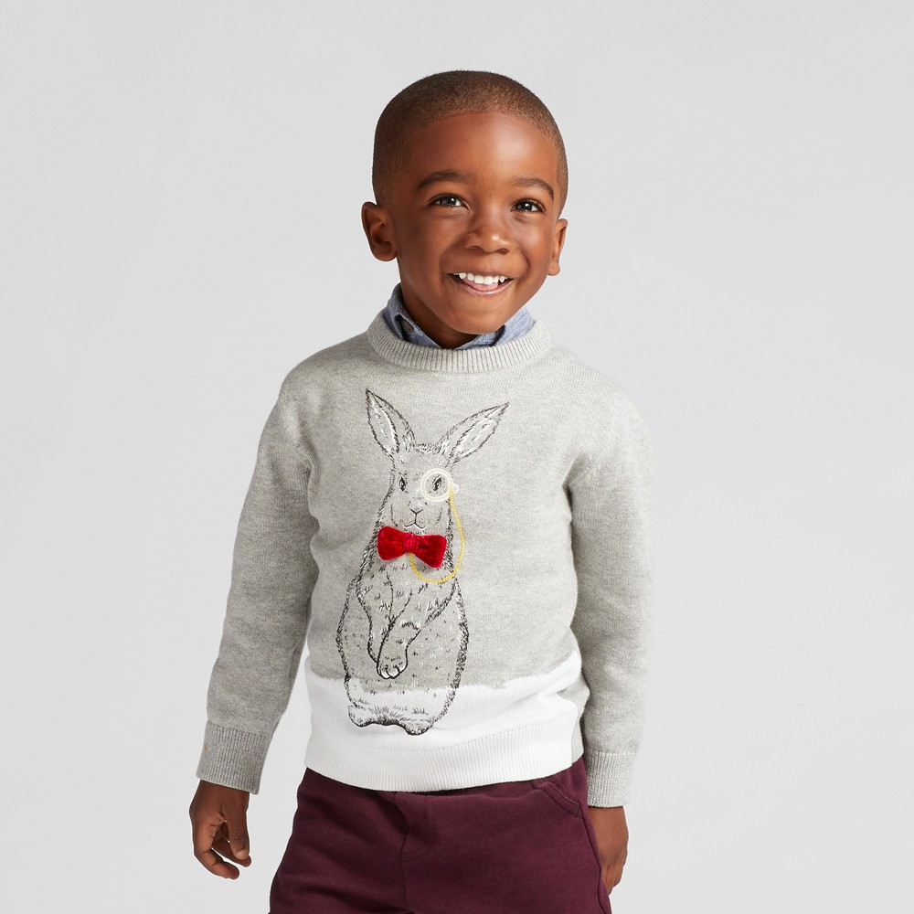 Toddler Boys Rabbit Print Pullover Sweater - Cat & Jack Gray 18M, Size: 18 M