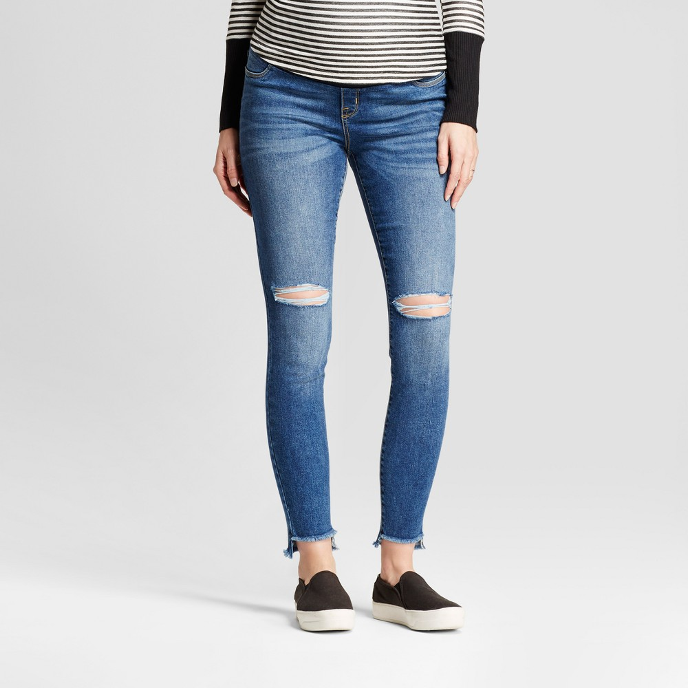 Maternity Crossover Panel Skinny Jeans - Isabel Maternity by Ingrid & Isabel Medium Wash 10, Womens, Blue