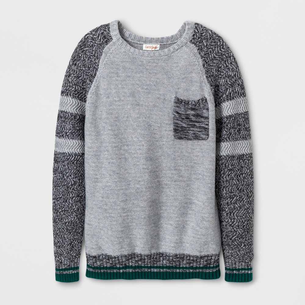 Boys Crew Neck Pullover Sweater - Cat & Jack Gray M