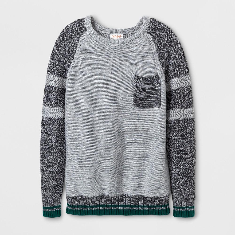 Boys Crew Neck Pullover Sweater - Cat & Jack Gray XS
