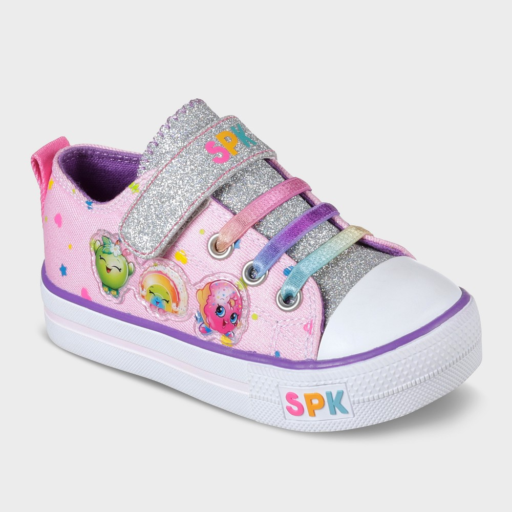 Shopkins Toddler Girls Low Top Canvas Sneakers 8 - White, Pink White