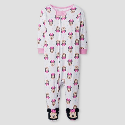 Baby Girls' Disney Minnie Mouse Footed Sleeper - White 3-6M