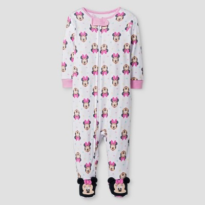 Baby Girls' Disney Minnie Mouse Footed Sleeper - White 6-9M