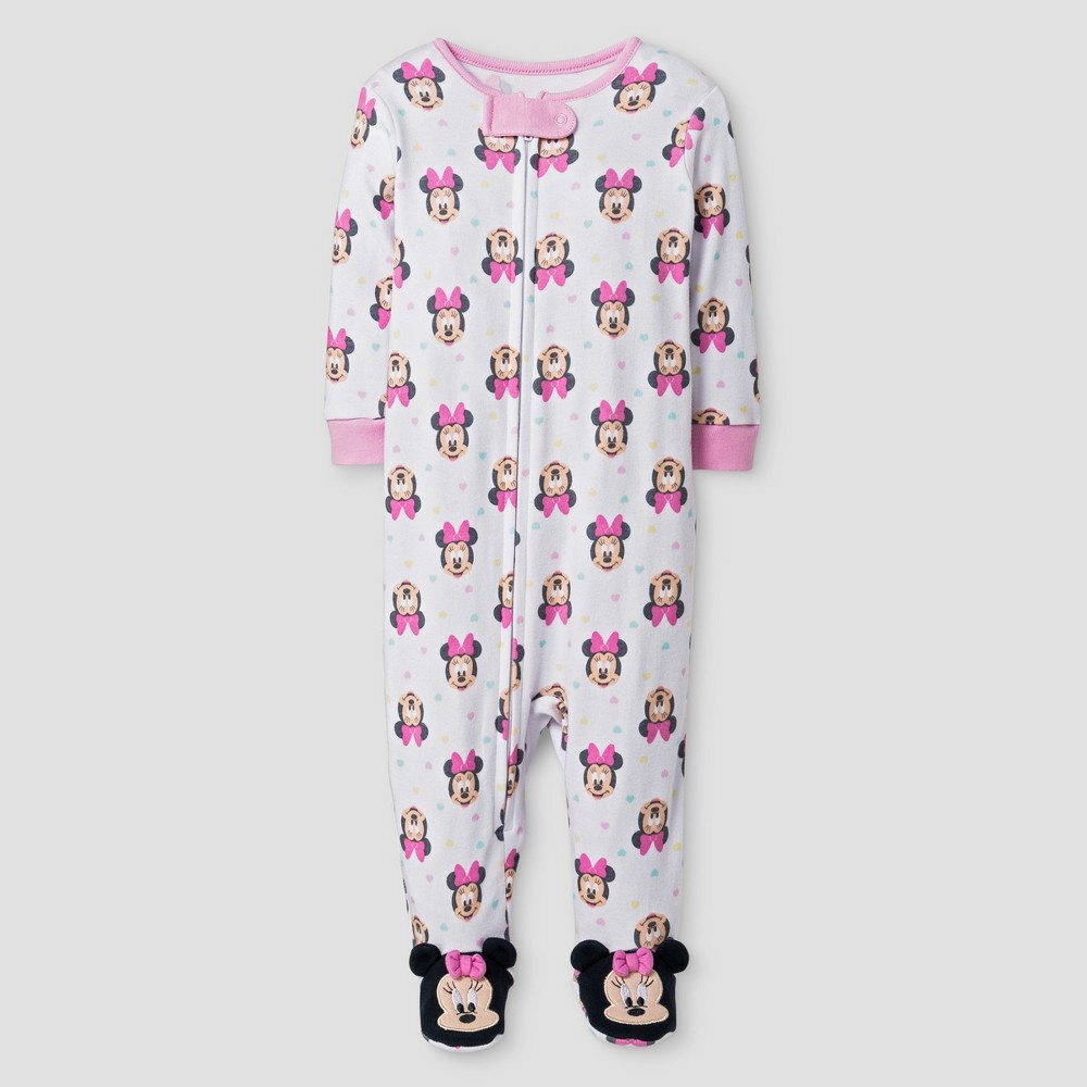 Baby Girls Disney Minnie Mouse Footed Sleeper - White 6-9M, Size: 6-9 M