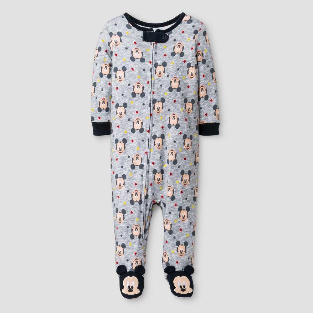 Baby Boys Disney Mickey Mouse Footed Sleeper - Gray 0-3M, Size: 0-3 M