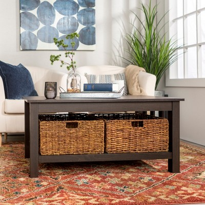 40  Wood Storage Coffee Table with Totes - Espresso - Saracina Home