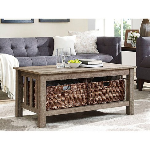 "40"" Wood Storage Coffee Table With Totes - Saracina Home - image 1 of 4"