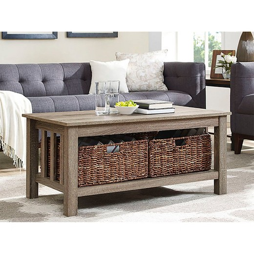 "Wicker Coffee Table Target: 40"" Wood Storage Coffee Table With Totes"