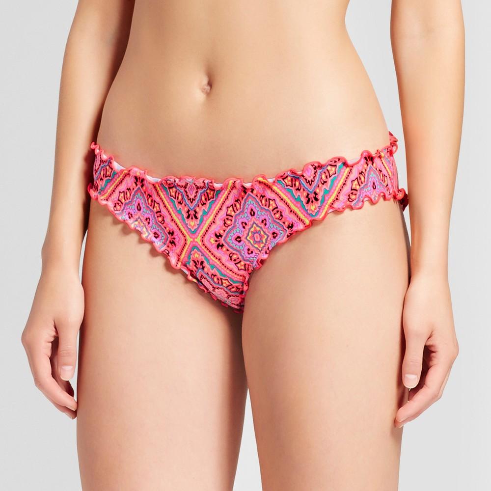 Womens Wave Ruffle Cheeky Bikini Bottom - Shade & Shore Coral Print XS, Pink