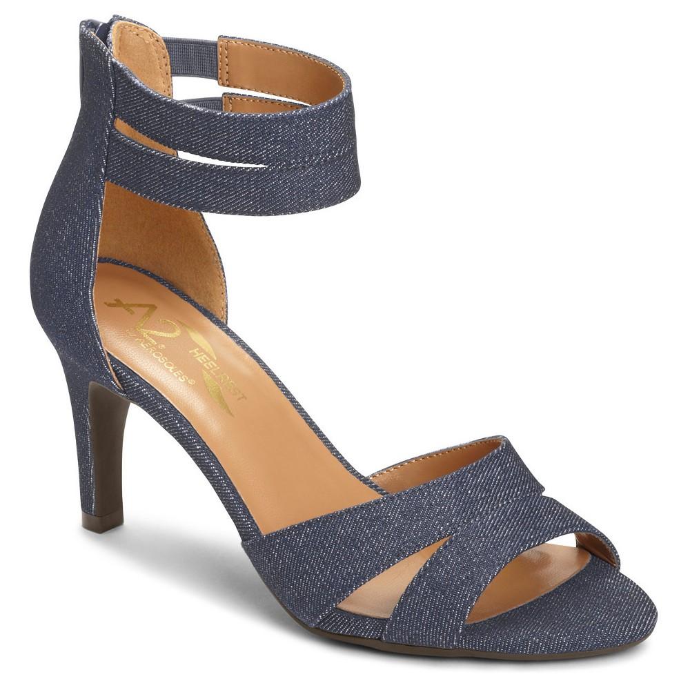 Womens A2 by Aerosoles Proclamation Cross Strap Heeled Sandals - Denim Blue 7.5