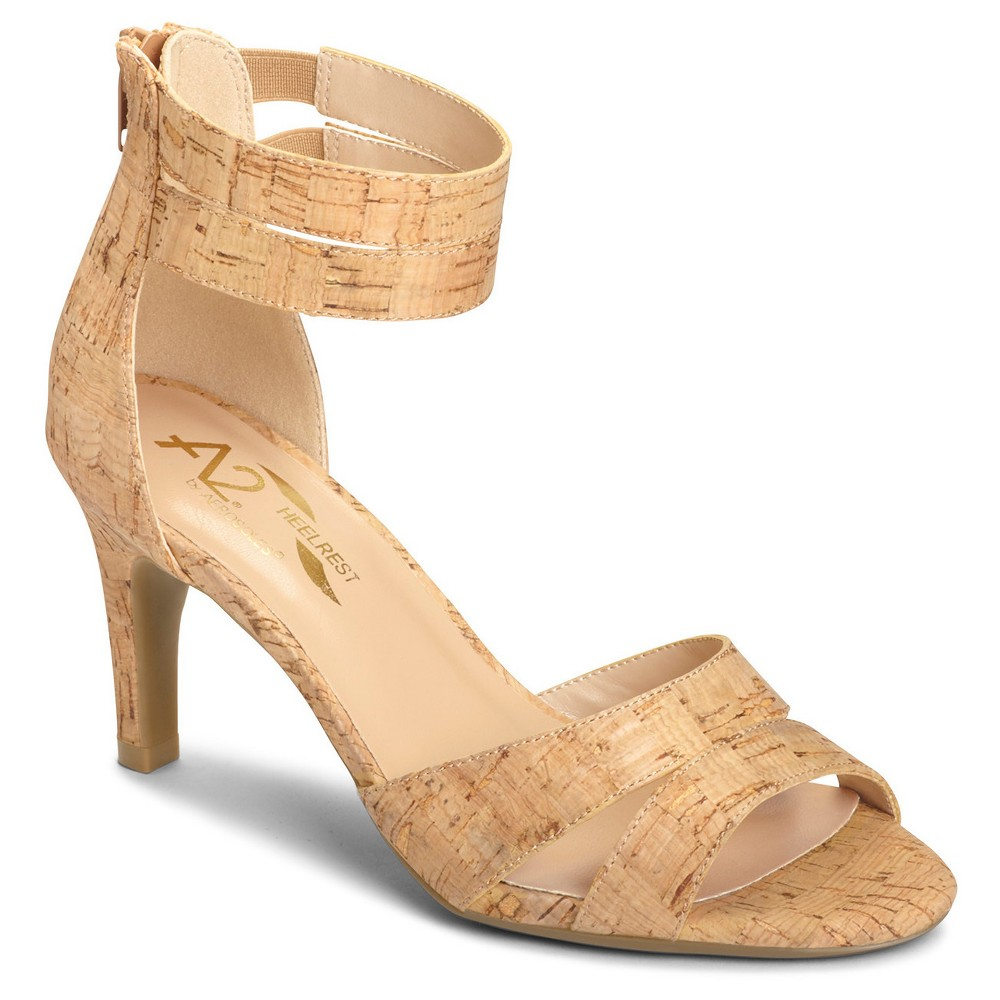 Womens A2 by Aerosoles Proclamation Cross Strap Heeled Sandals - Cork (Brown) 8