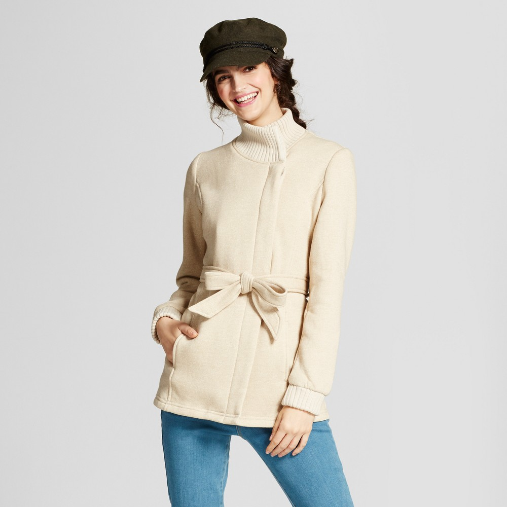 Women's Ribbed Collar Fleece Wrap Jacket Oatmeal M - Mossimo Supply Co.