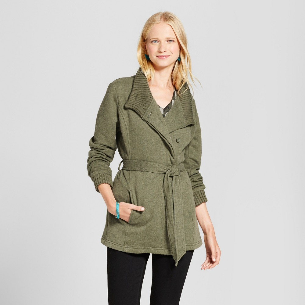 Womens Ribbed Collar Fleece Wrap Jacket Olive (Green) S - Mossimo Supply Co.