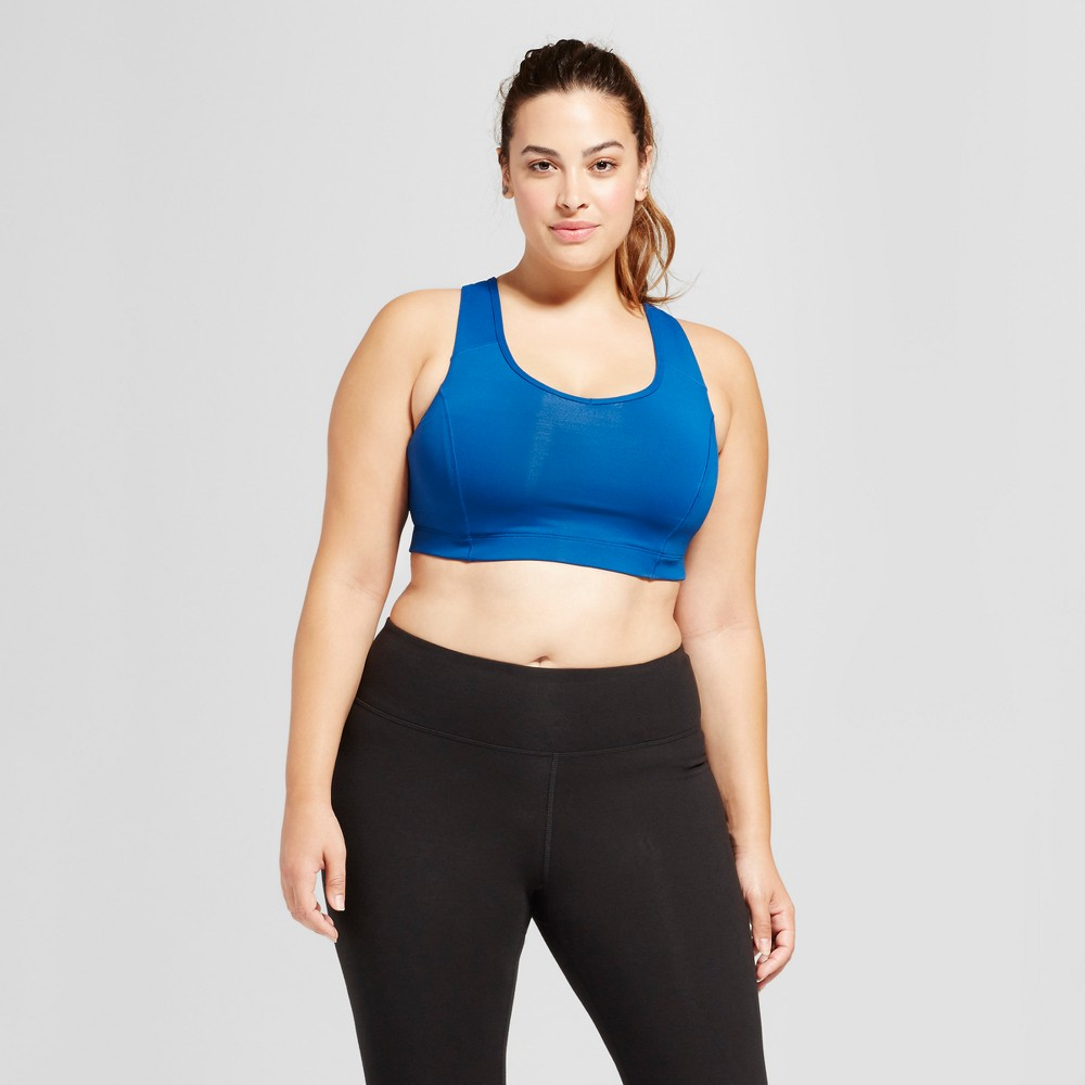 Womens Plus-Size Strappy Racerback Sports Bra - C9 Champion Winter River Blue 3X