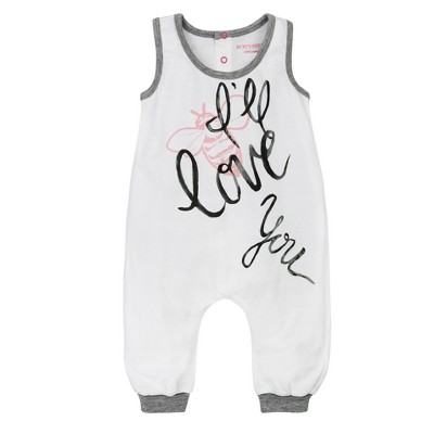 Burt's Bees Baby® Girls' I'll Love You Coverall - White 0-3M