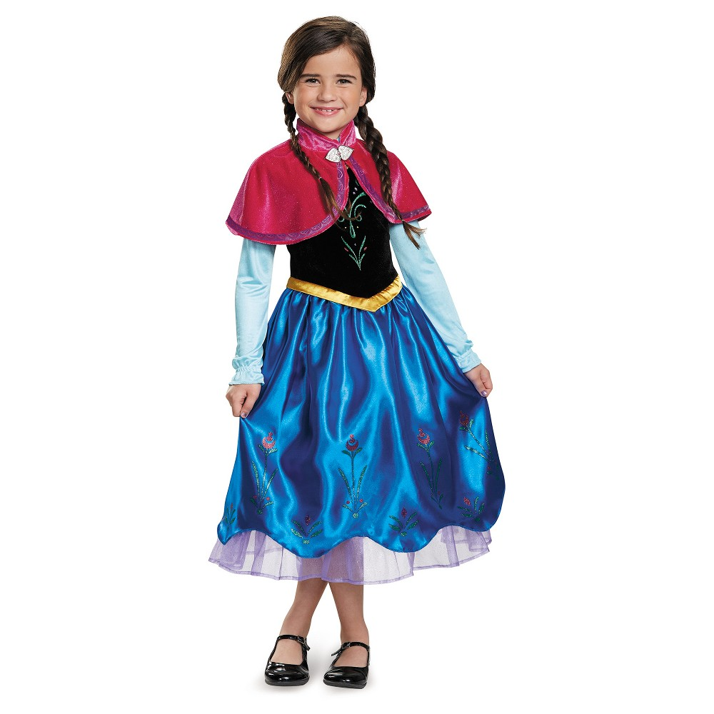 Girls Disney Frozen Anna Deluxe Costume - S (4-6), Multicolored