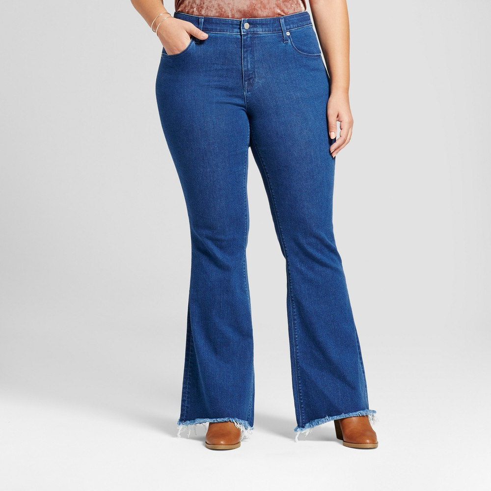 Womens Plus Size Flare Jeans with Raw Hem - Ava & Viv Medium Wash 20W, Blue