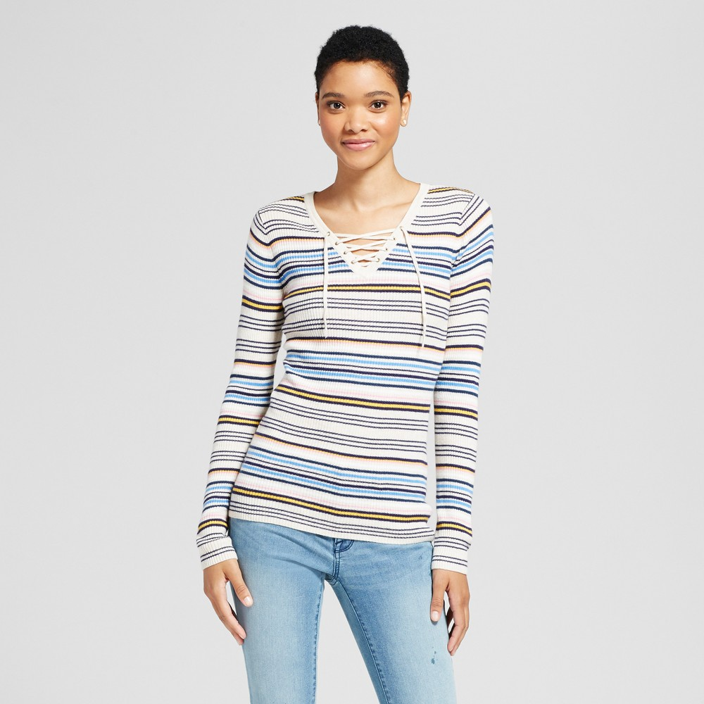 Womens Lace Up Stripe Sweater - Mossimo Supply Co. Cream L, Beige